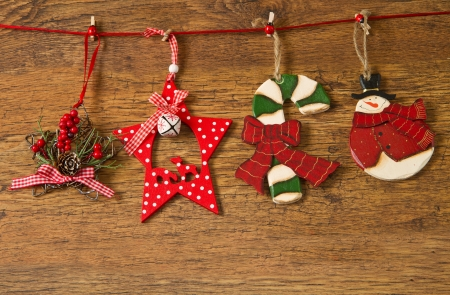 Christmas decoration over wooden background Stock Photo - 16278002