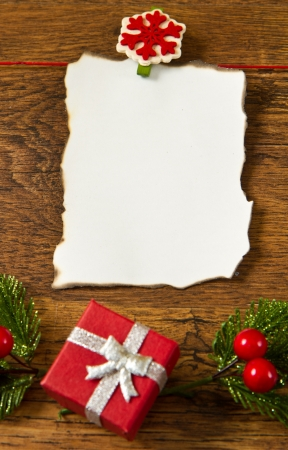 blank note with christmas decoration on wooden background Stock Photo - 16277962