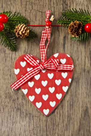 Christmas decoration over wooden background  Stock Photo - 16277995