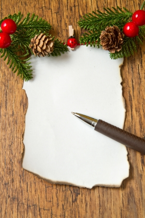red horse: blank note with christmas decoration on wooden background  Stock Photo