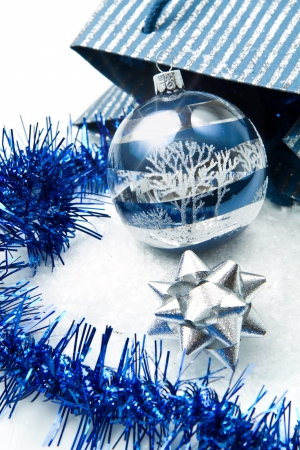 holy place:  blue and silver christmas decorations Stock Photo