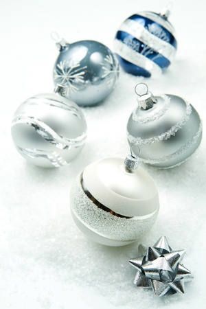 wintry silver Christmas decorations photo