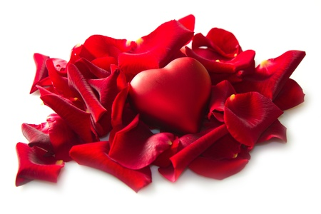 Red rose petals with heart photo