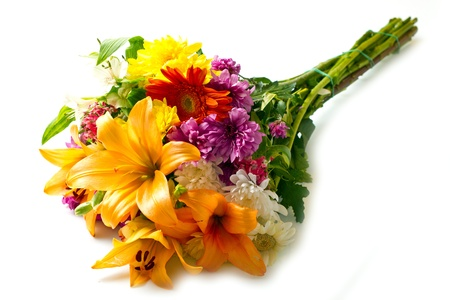 flowers bouquet: beautiful bouquet of bright flowers  isolated on white