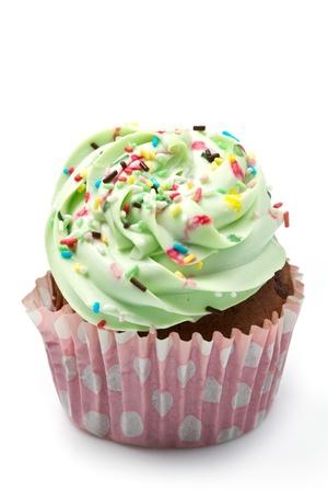 decoracion de pasteles: Cupcakes de vainilla con glaseado de limón Foto de archivo