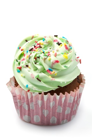 cake topping: vanilla cupcakes with  lime icing