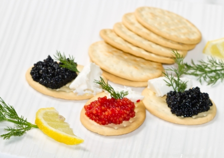 black and red caviar canape Stock Photo - 16915629