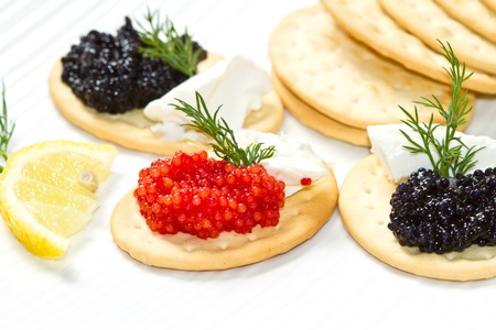 black and red caviar canape Stock Photo - 16957668