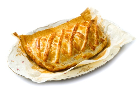 phono: cheese pie baked with puff pastry  Stock Photo