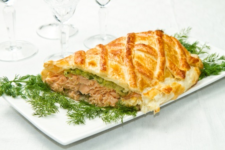 Traditional salmon in puff pastry with spinach and zucchini Stock Photo - 16957691