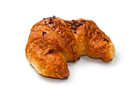 Fresh and tasty croissant on the white  photo