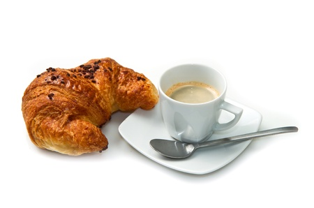 Cup of coffee with croissants isolated in white  Stock Photo - 16957639