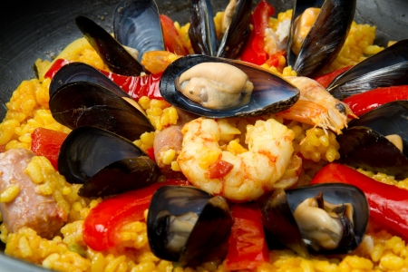 spanish culture:   Seafood Spanish Paella, traditional recipe