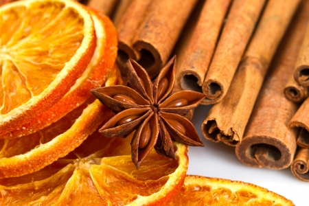 Cinnamon sticks, star anise and dried orange cuts  Stock Photo - 17088965