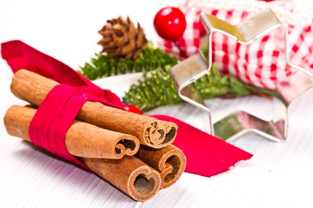 cinnamon sticks with decoration on white Stock Photo - 17088922