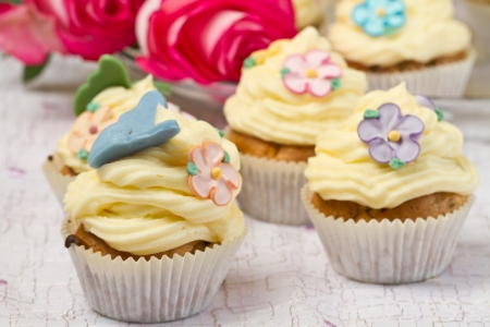 a group of decorated Cupcakes with pink rose Stock Photo - 17132743