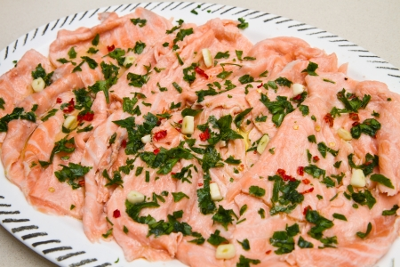 dish with marinated salmon photo