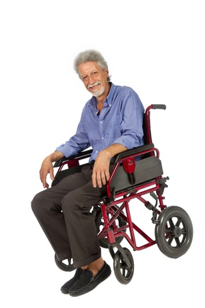 Smiling aged man patient in a wheelchair Stock Photo - 17165032
