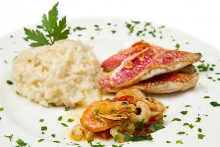 white dish with rice , red mullet fillets and seafood Stock Photo - 17331444
