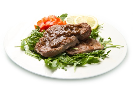 fresh grilled red meat with vegetables and sauce Stock Photo - 17331433