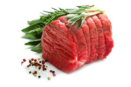 Raw beef  isolated on white photo