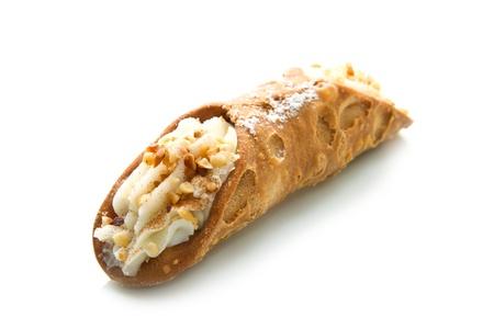 cannoli pastry: Sicilian cannoli with almond Stock Photo