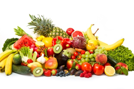 Fruits and vegetables like tomatoes, zucchini, melons, bananas and grapes arranged in a group, natural still life for healthy food Stock Photo - 18180646