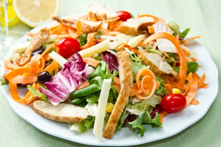 Chicken salad with fresh ingredients in the white bowl Stock Photo - 18364895