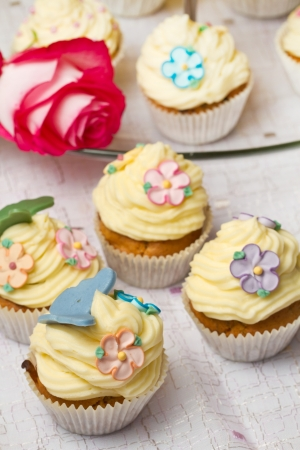 a group of decorated Cupcakes with pink rose Stock Photo - 18364839