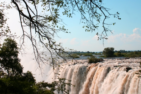 A VIEW OF Victoria falls in Zimbabwe