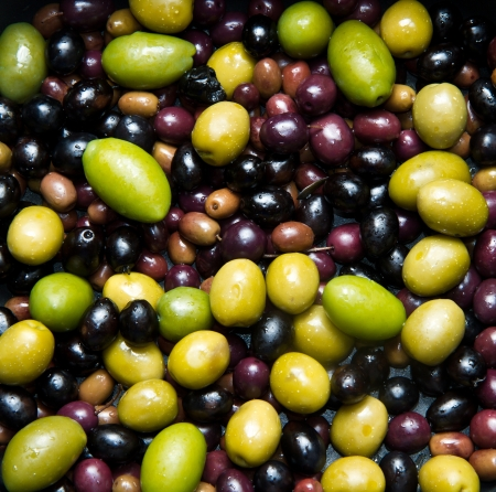 oilcan: different kind of green and black olives