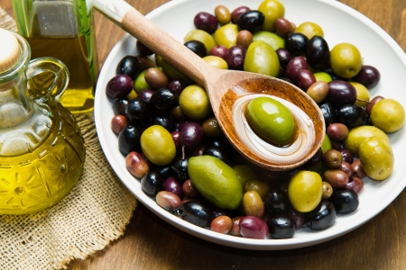 Olives and Olive Oil  Stock Photo - 18669699