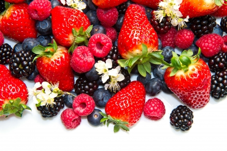 mix fruit: Berries on white Background