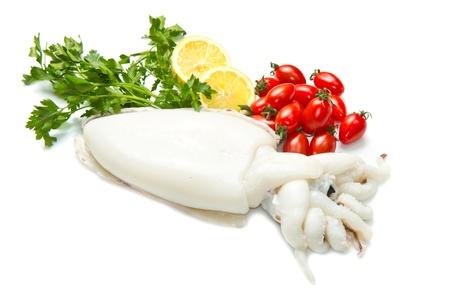 Frischen Tintenfisch mit Petersilie, Tomaten und Zitrone isoliert auf weiß Standard-Bild - 18949575
