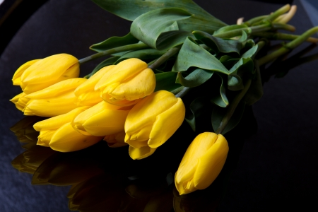 Beautiful bouquet of yellow tulips  photo