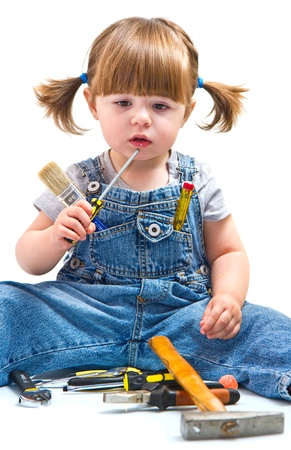 baby girl with working tool Stock Photo - 19557288