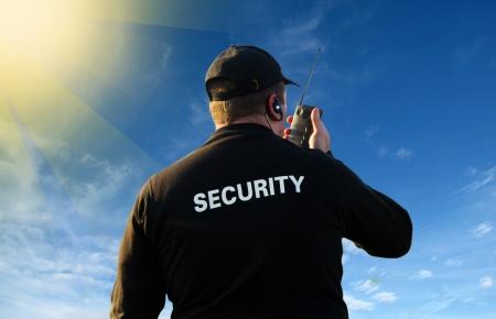 guarda de seguridad: parte posterior de un guardia de seguridad