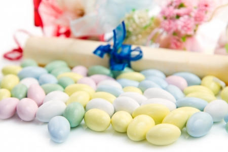 wedding favor: different colored candy favor on white background Stock Photo