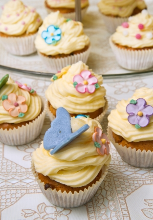 tilted: a group of decorated Cupcakes