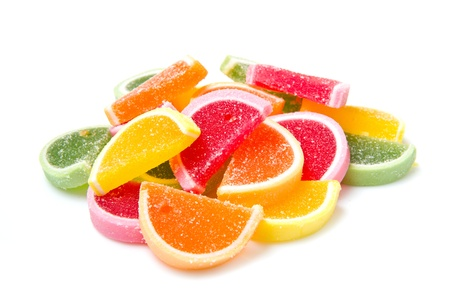 sweetie: Color fruit jelly candies isolated on white background