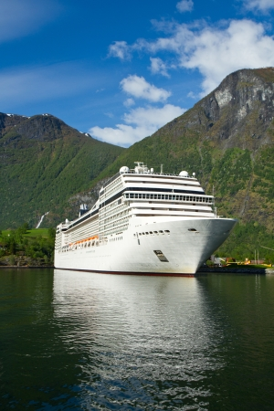 lifeboats: Cruise ship in  Norwegian fjords Stock Photo