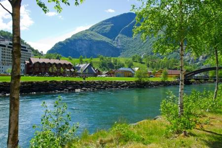 Sognefjord port in Flam Norwegian  fjord.  photo