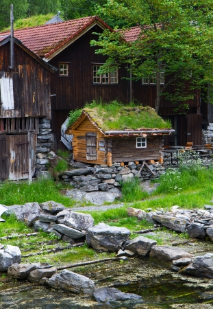 olden: Country houses in village Olden in Norway.