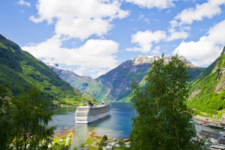 cruise: Cruise ship in  Norwegian fjords Stock Photo
