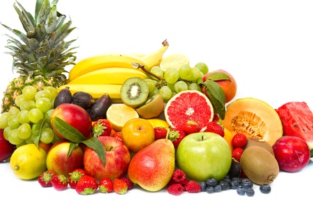 Assortment of fresh fruits isolated on white  photo
