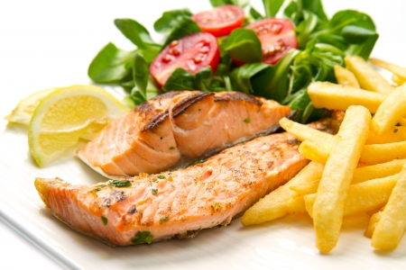 salmon fillets with grilled potatoes Stock Photo