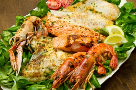 grilled fish: mixed seafood grill Stock Photo