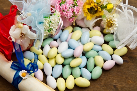 favor: different colored candy favor