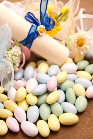 different colored candy favor  photo