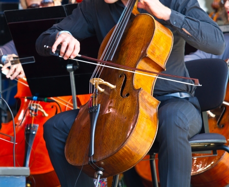 played: close-up of cellos being played in a concert